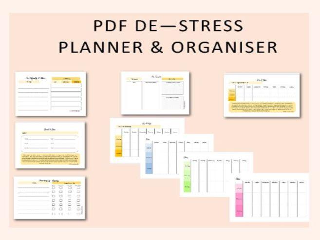 De - Stress Workbook / Printable mental health planner / downloadable organiser / workbook