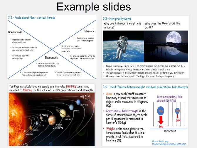 Non - Contact forces between objects lesson / revision slides and matching workbook