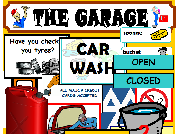 GARAGE AND CAR WASH  ROLEPLAY CLASSROOM DISPLAY EYFS KS1