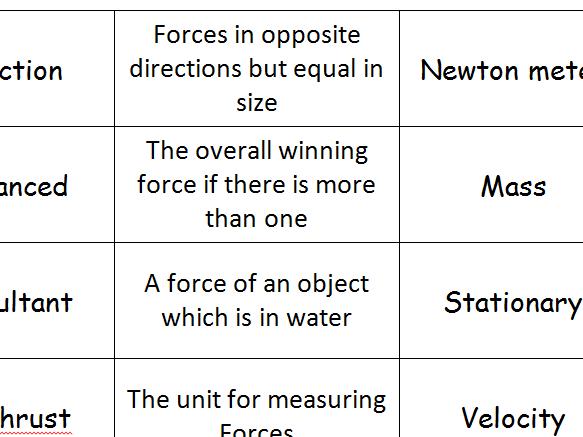 AQA Trilogy Forces Revison Loop Cards