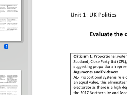 "EDEXCEL A level Politics ""Evaluate the case for introducing proportional representation"" essay plan"