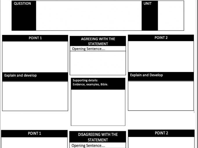 12 Marker AQA Formative Assessment Writing Frame RE