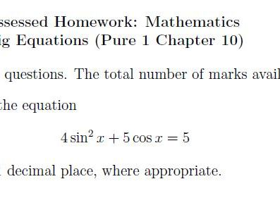 Edexcel Pure 1 Chapter 10 + Pure 2 Chapter 5 Homework - Trig Equations and Radians