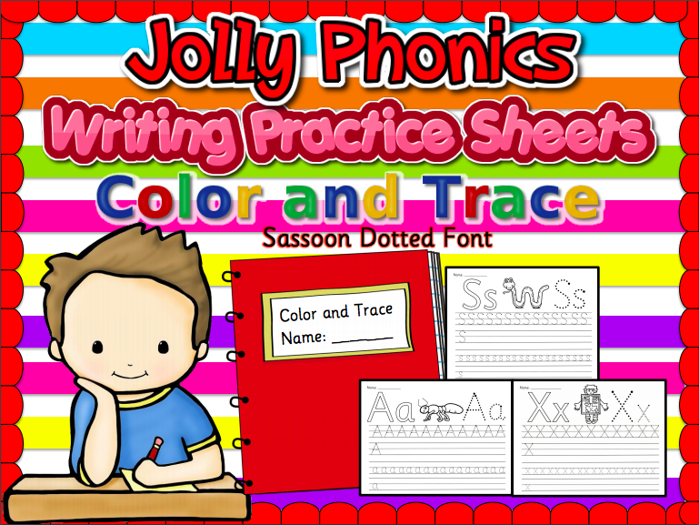 Writing Paper/ Alphabet Tracing in Sassoon Font (Jolly Phonics)