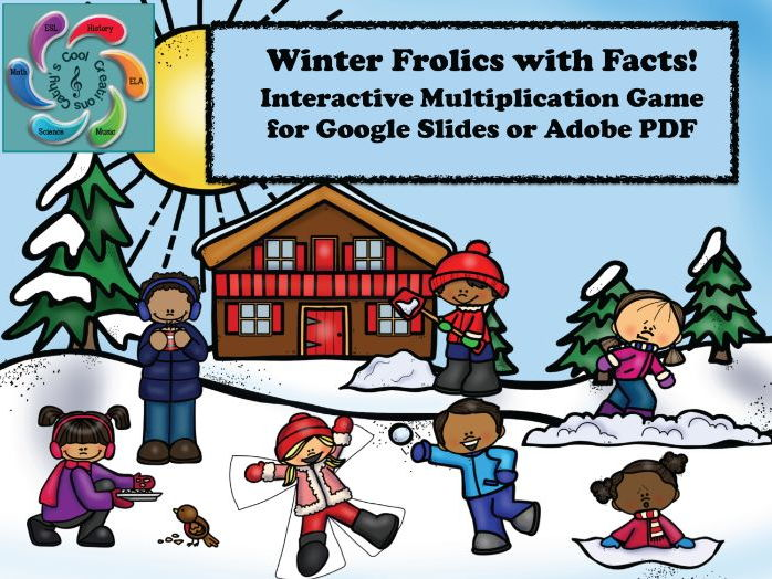 Interactive  Multiplication Game for Google Slides /Adobe- Winter Frolics with Facts
