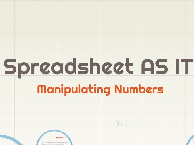 Spreasheets for GCSE & AS IT