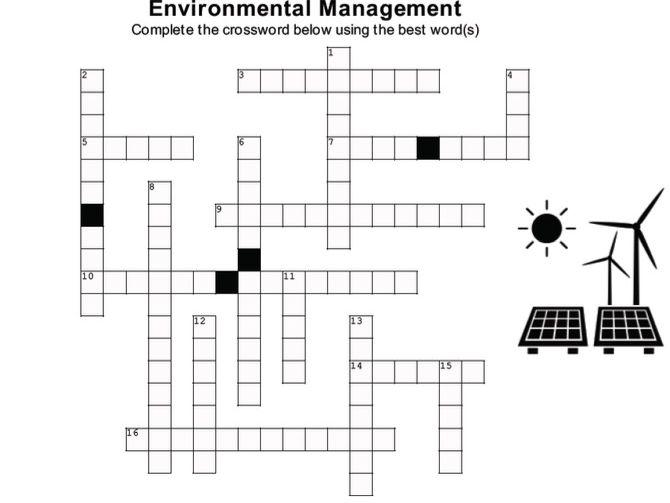 ENVIRONMENTAL MANAGEMENT Crossword Puzzle w/ answer key (version 2) (Cambridge A-level)