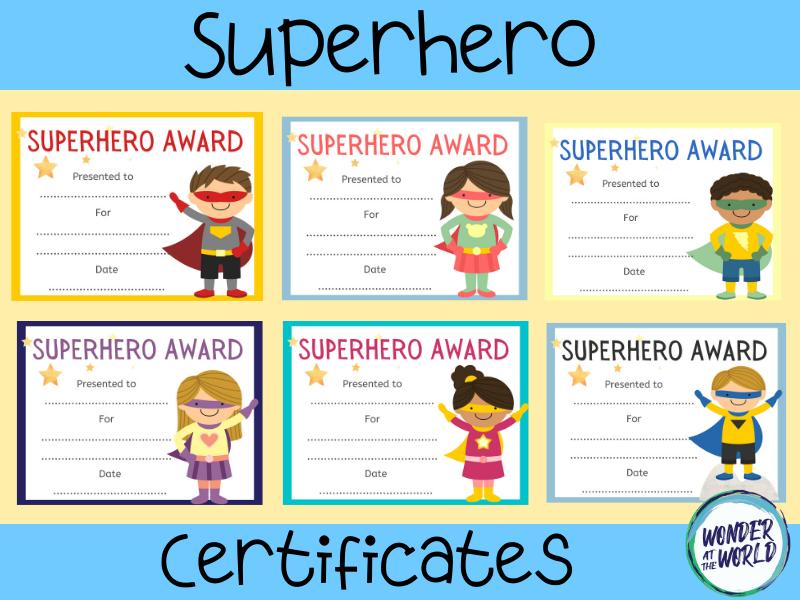 Editable superhero certificates (to print or use online)