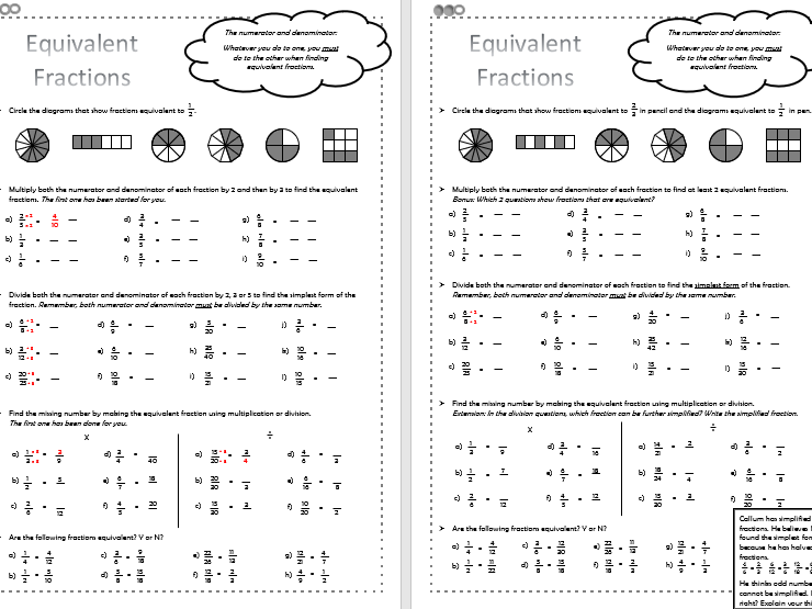 Equivalent Fractions - Differentiated Worksheets - KS2
