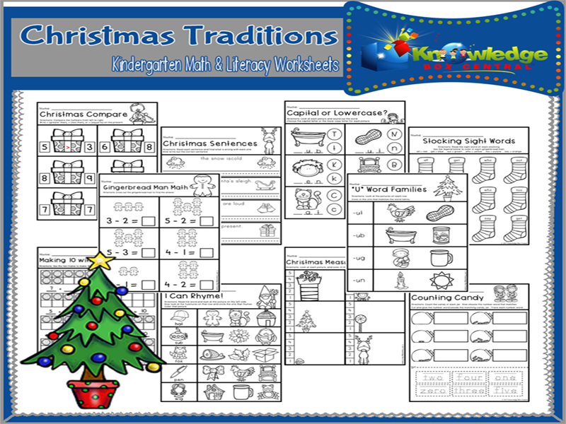 Christmas Traditions Kindergarten Math & Literacy Worksheets