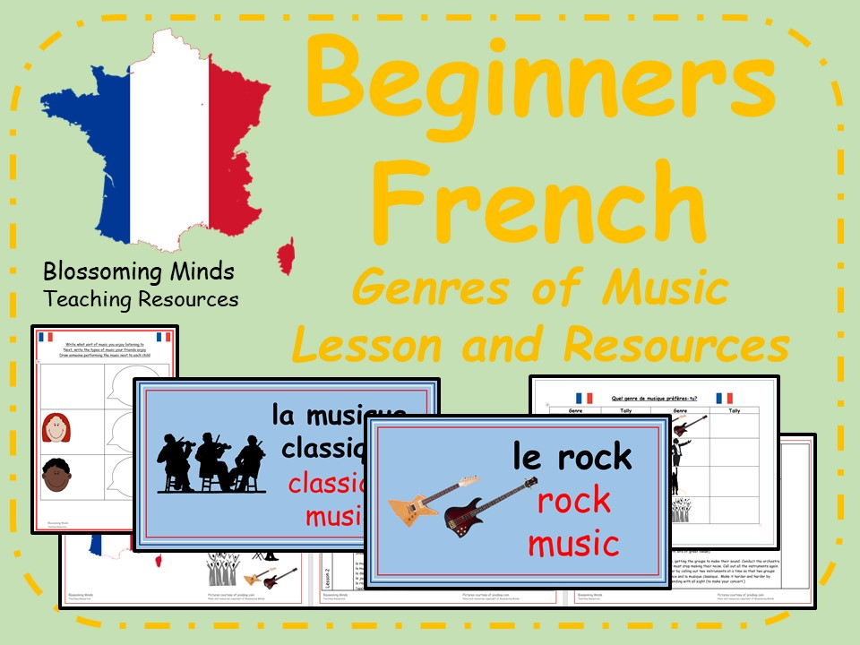 French lesson and resources - KS2 -  Music Genres