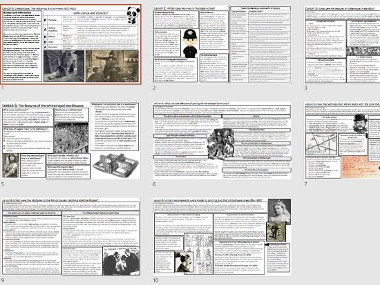 GCSE History Edexcel Whitechapel Fact Sheets - Revision Home Learning