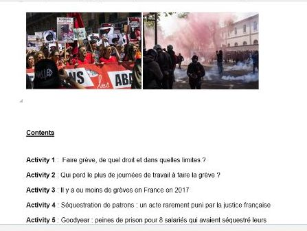 Les greves et les manifestations - Extension Activities for A Level Students
