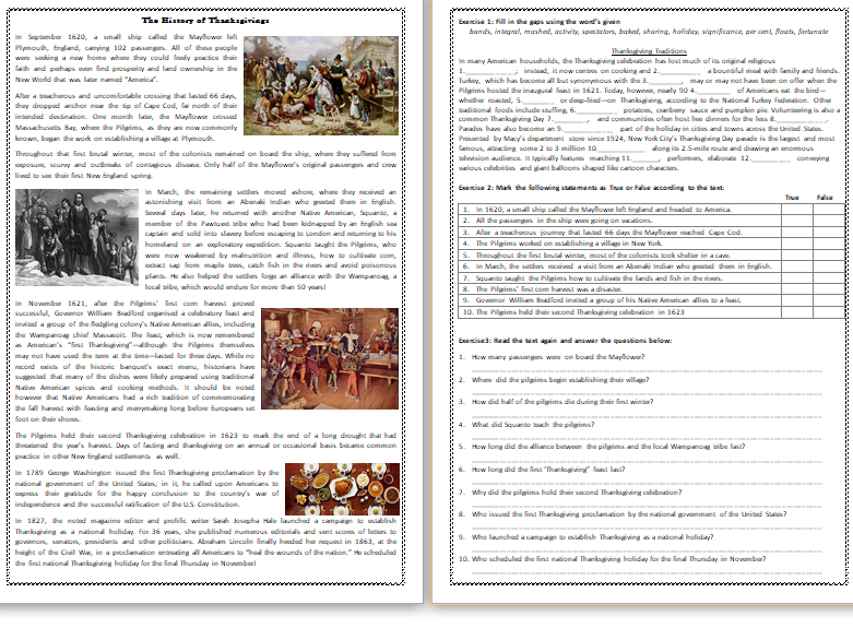 The History of Thanksgiving - Reading Comprehension Worksheet / Text
