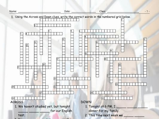 Present Continuous Tense Crossword Puzzle by eslfungames | Teaching