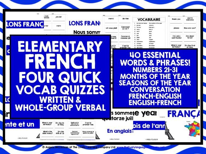 ELEMENTARY FRENCH VOCABULARY QUIZZES 2