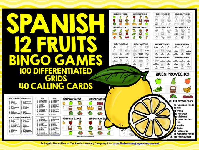 PRIMARY SPANISH FRUITS BINGO