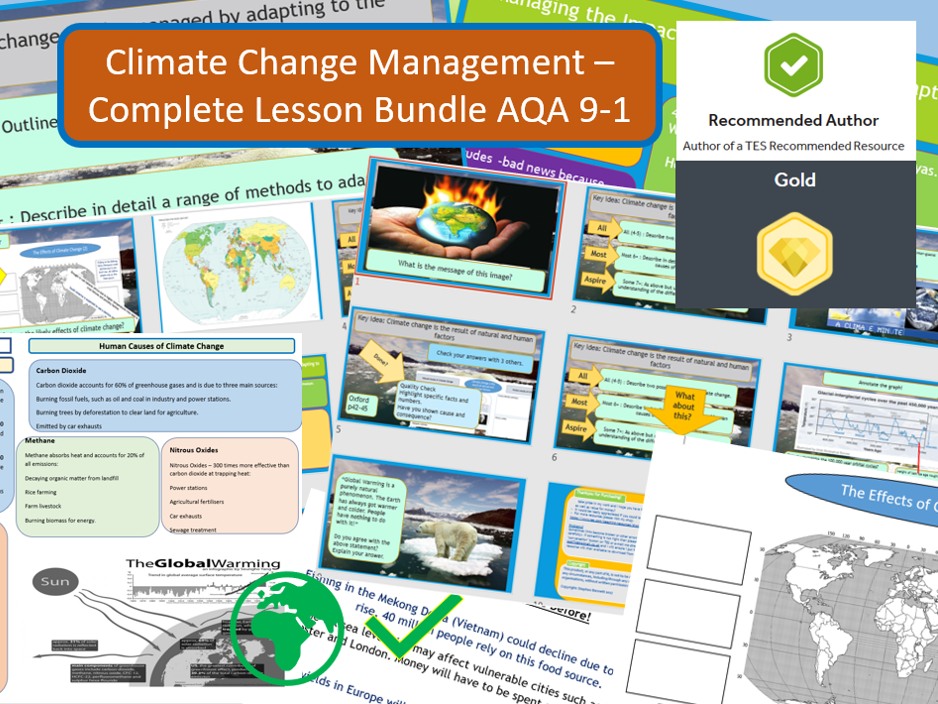 GCSE AQA 9-1 The Challenge of Natural Hazards Climate Change - Complete Bundle.