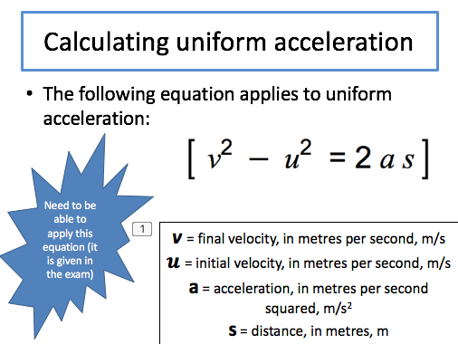 Forces and Motion Skeleton PP for AQA Combined Science (Physics topic 6.5.4)