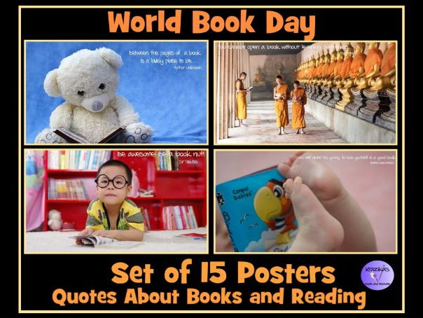 Set of 15 Reading / Book Quote Posters - Ideal for World Book Day