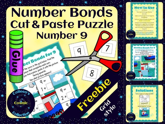 FREEBIE Number Bonds Self-Checking Cut and Paste Grid Puzzles for number 9