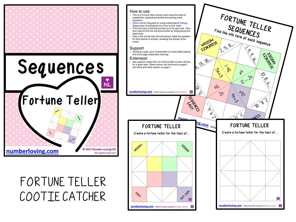 Sequences Nth Term (Cootie Catcher)