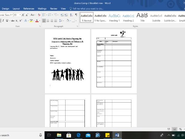 BTEC Drama Component 2, Assessment Booklet