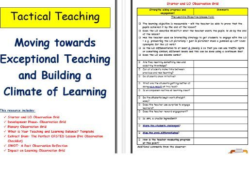 Teaching Observation Sheets for Coaching Sessions -