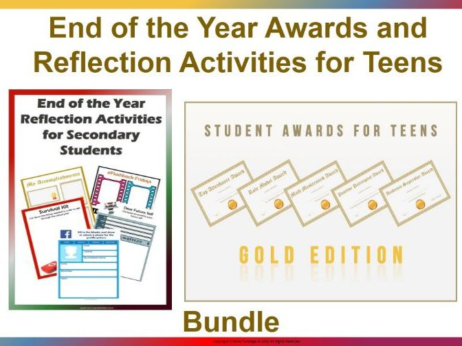 End of the Year Awards Gold Edition and Reflection Activities for Teens