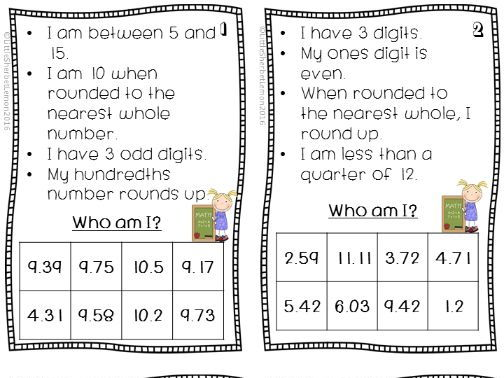 'Who am I?' task cards for Rounding and Place Value for Decimals