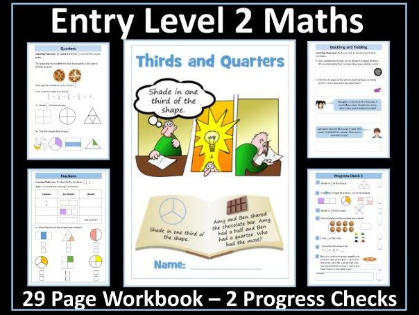 AQA Entry Level 2 Maths - Ratio - Fractions - Thirds - Quarters