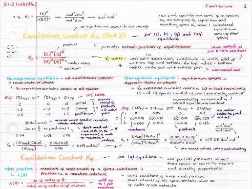 OCR A Level Chemistry Equilibrium Revision Poster