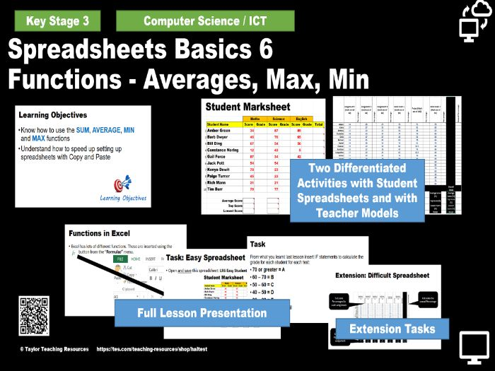 Spreadsheets Basics 6 - Functions - Averages, Max, Min - KS 3 Computing / ICT