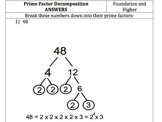 GCSE Maths - Prime Factor Decomposition - Questions and Answers
