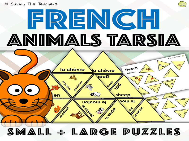French Animals Tarsia Puzzle Activity