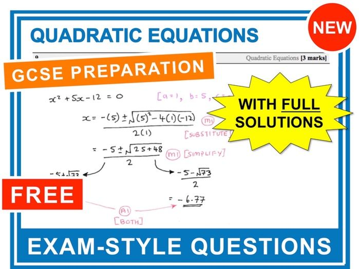 GCSE 9-1 Exam Question Practice (Quadratic Equations) by ...
