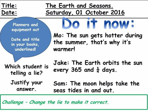 The Earth and Seasons (KS3)