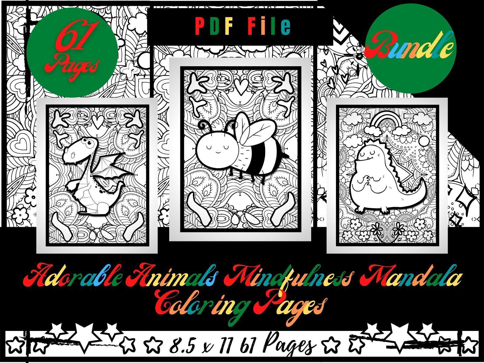Bundle 61 Adorable Animals Mindfulness Mandala Animals, Mindfulness Coloring