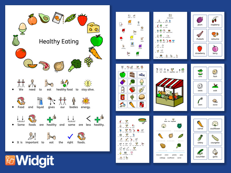 Healthy Eating Comprehensive Bundle with Widgit Symbols