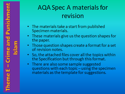 AQA GCSE (9-1) RS Spec A - Revision materials - Theme E Religion, Crime and Punishment - Islam