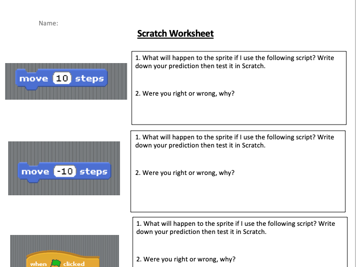 Introduction to Scratch worksheet