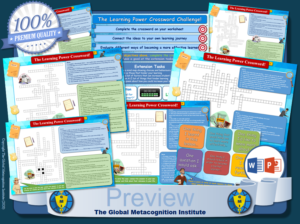 Crossword Worksheets (x5) [Metacognition, Learning Power, Self-Regulated Learning]