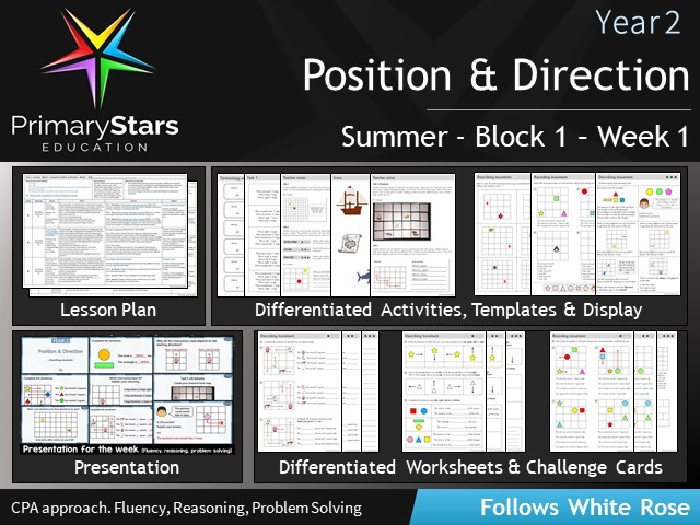 YEAR 2 - Position and Direction - White Rose - WEEK 1 - Block 1- Summer- Differentiated Planning