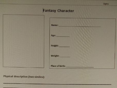Fantasy Character Template