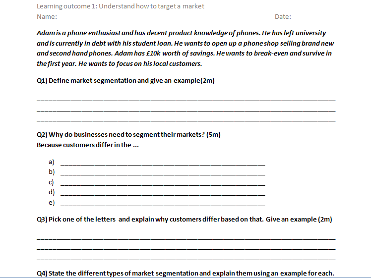 RO64 Cambridge National LO1 revision sheet question and answers