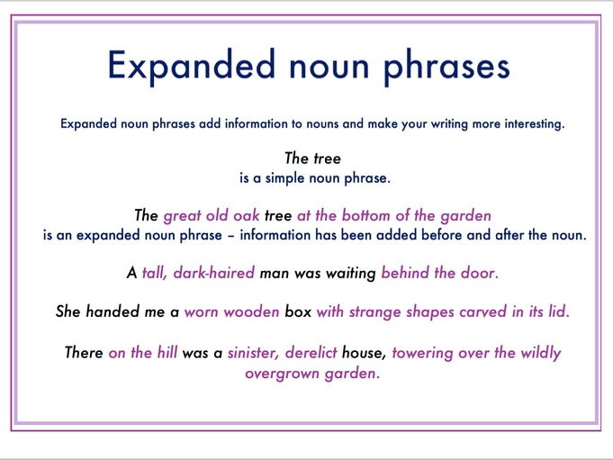 Expanded noun phrases guide