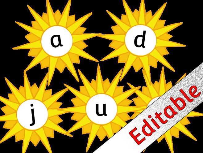 Sun themed Alphabet Posters/Flashcards/Display - Editable