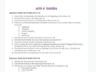 GCSE Music Section A Questions Doc