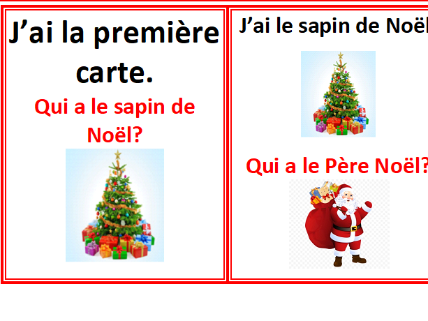 French Christmas Cards game - J'ai....qui a...