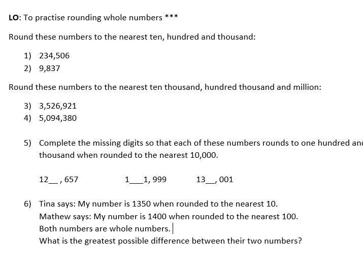 Rounding numbers year 6